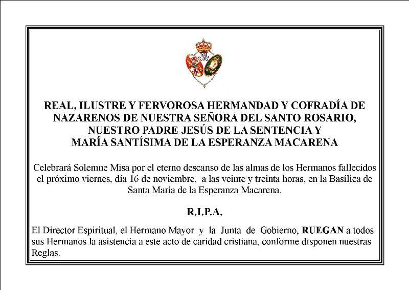 ESQUELA HERMANOS WEB | Hermandad de la Macarena